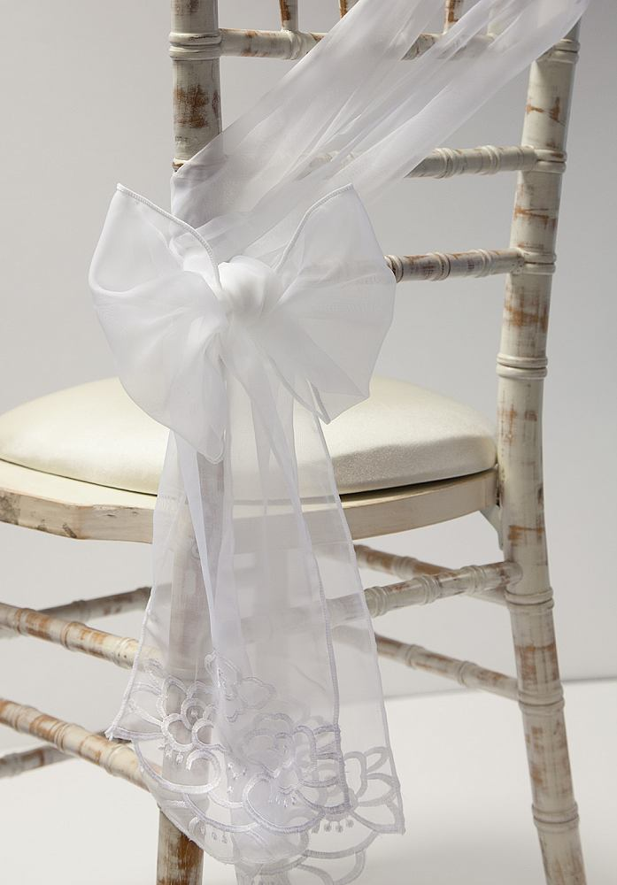 Embroidered Lux Voile Sash - White