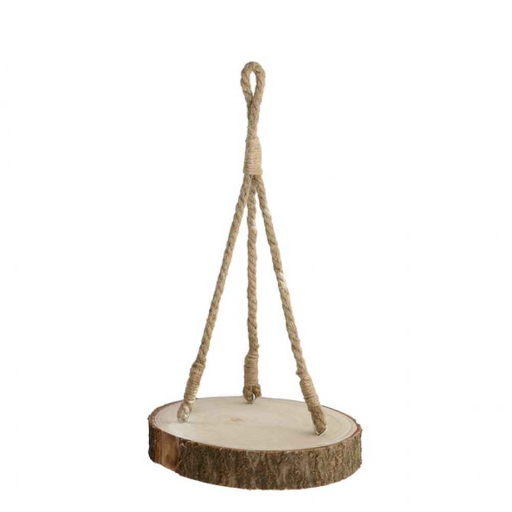 Wood Slice With Rustic Hanging Rope - 25cm