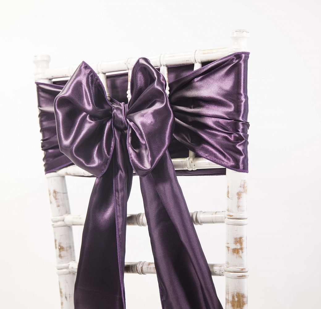 Satin Sash - Plum