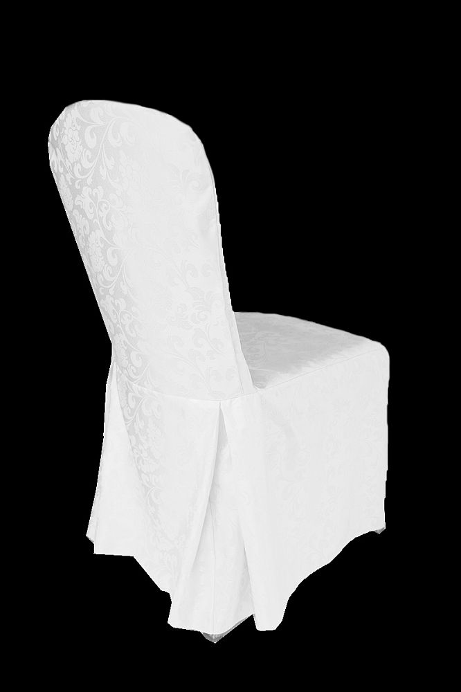 Damask Regal Chair Covers with Pleats - White