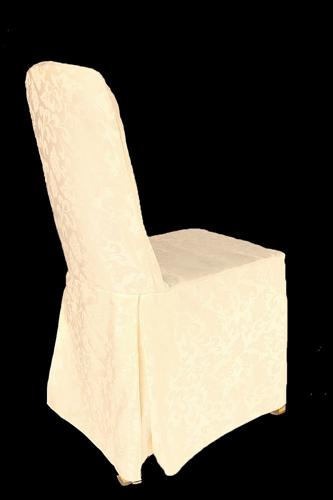 Damask Regal Chair Covers with Pleats - Ivory
