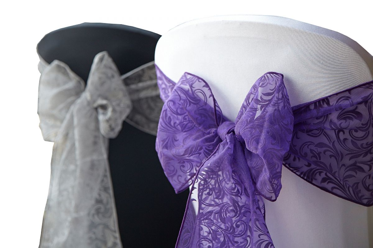 Flock Organza Sash 20cm x 275cm - Ultra Purple