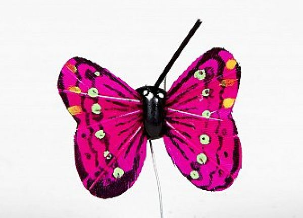01 Hand Painted Butterflies - Fuchsia