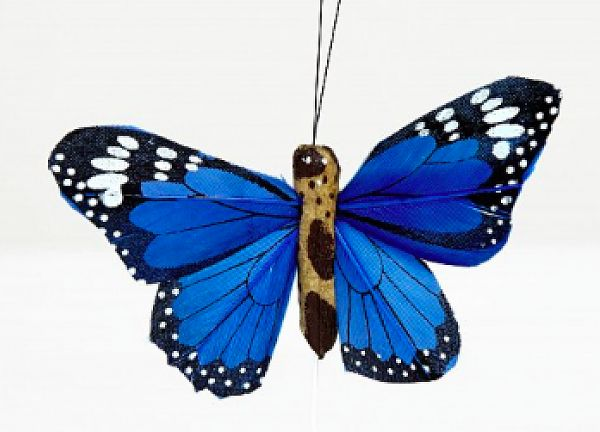 02 Hand Painted Butterflies - Blue