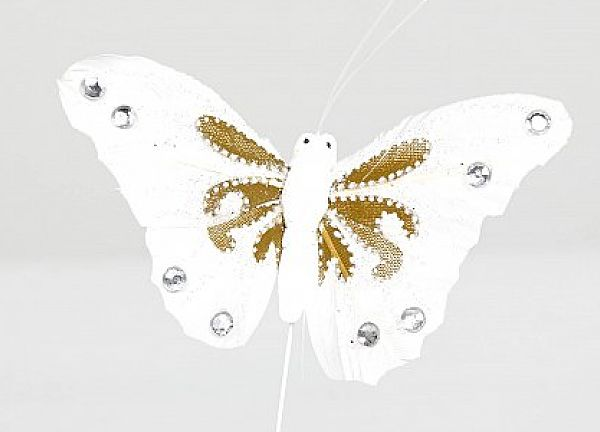 03 Glitter Butterflies with Diamante - White