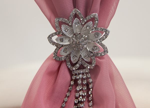 Diamante Flower Brooch With Trail - 6 Pack