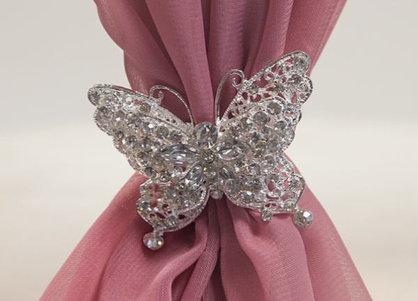 Diamante Butterfly Brooch - 6 Pack