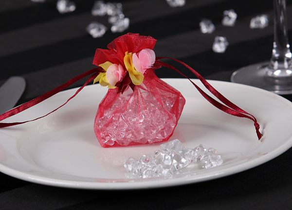 Floral Organza Favour Bags -Red