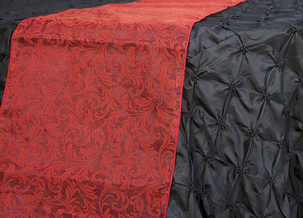 Flock Organza Table Runners - Red