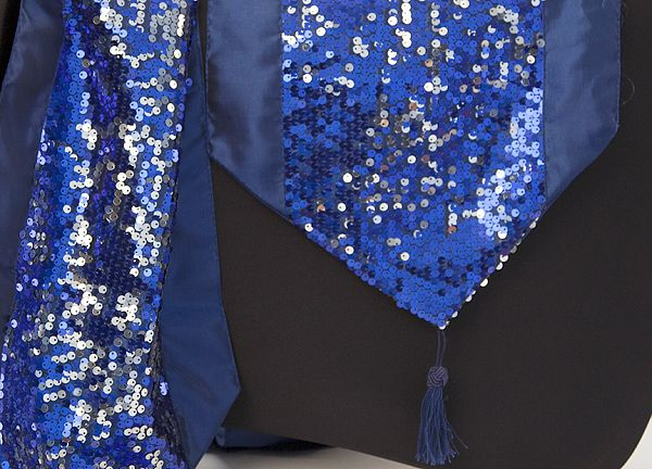 Sequin Table Runner with Tassel - Blue/Silver