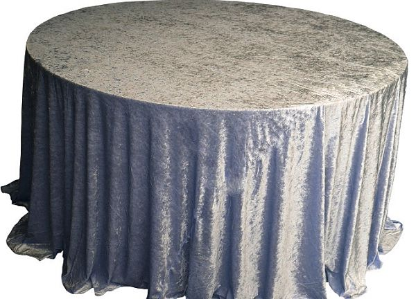 Crushed Velvet Table Cloths 132 Round - Dark Silver