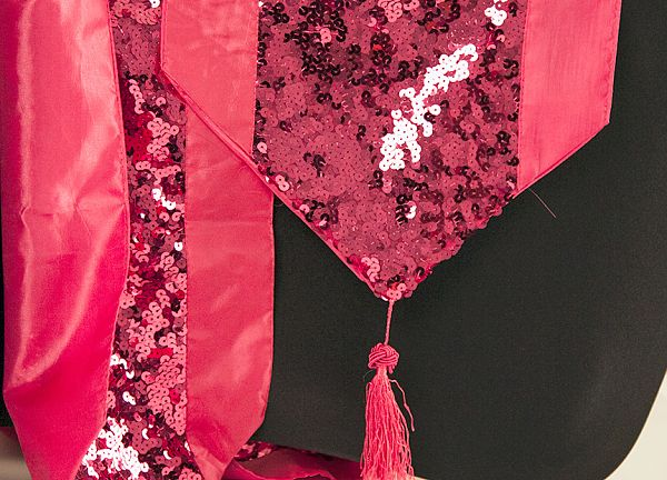 Sequin Table Runner with Tassel - Pink/Pink