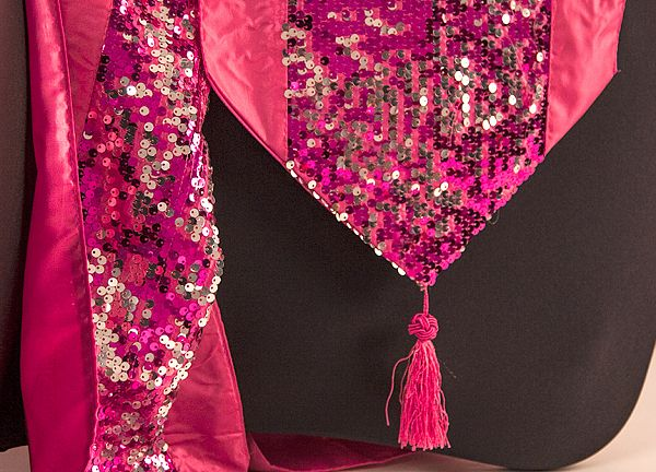 Sequin Table Runner with Tassel - Pink/Silver