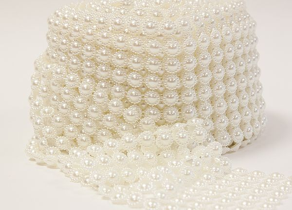 Pearl Mesh Flower Roll - Ivory