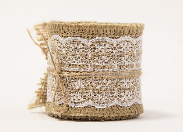 Hessian Lace Ribbons - 6cm x 2 yards