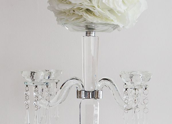 Glass 4 Arm Candelabra With Flat Top CLT206