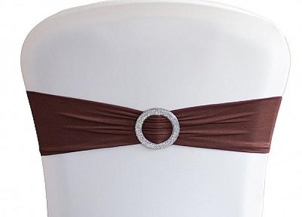 Lycra Chair Bands With Buckle - Chocolate