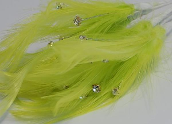 Diamante Feathers - Lime