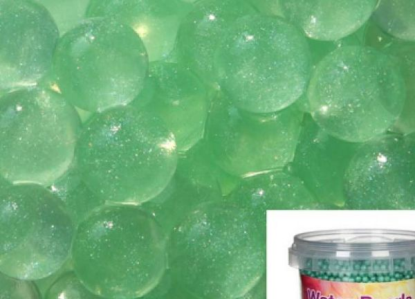 Metallic Water Pearls 100g 12mm - Metallic Green