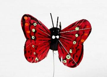 01 Hand Painted Butterflies - Red