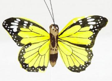 02 Hand Painted Butterflies - Yellow
