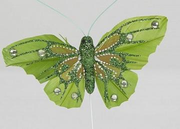 03 Glitter Butterflies with Diamante - Green