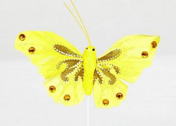 03 Glitter Butterflies with Diamante - Yellow