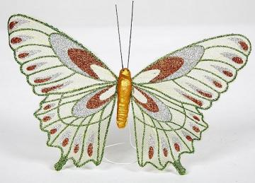 05 Webbed Glitter Butterflies - Green