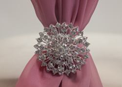 Diamante Flower Brooch - 6 Pack