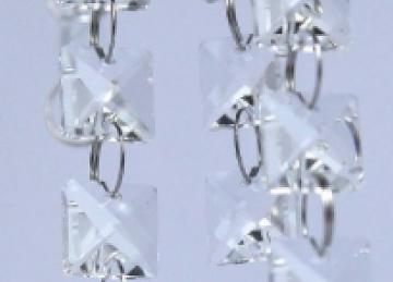Glass Crystal Square Garland Strand 14mm - Clear