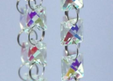 Glass Crystal Square Garland Strand 14mm - Iridescent