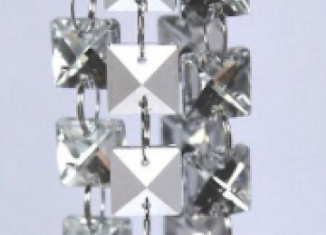 Glass Crystal Square Garland Strand 14mm - Silver