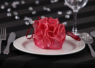 Round Rose Top Favour Bags - Red
