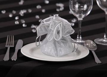Round Rose Top Favour Bags - Silver