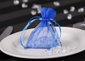 Organza Favour Bag with Diamante - Blue