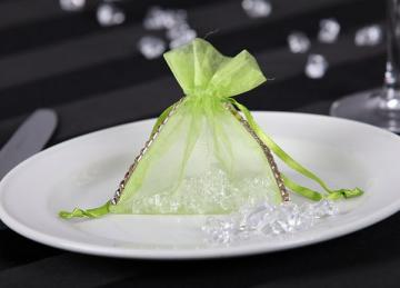 Organza Favour Bag with Diamante - Lime