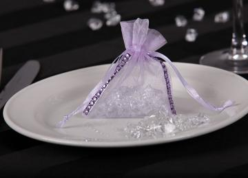 Organza Favour Bag with Diamante - Pink