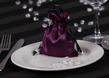 Satin Favour Bags - Plum
