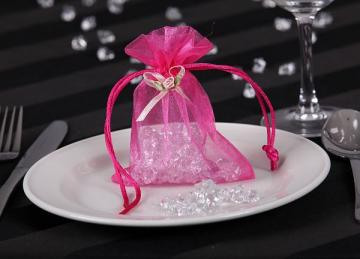 Organza Favour Bags with Rose Buds - Green
