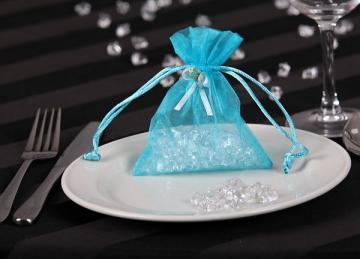 Organza Favour Bags with Rose Buds - Light Blue