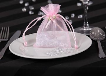 Organza Favour Bags with Rose Buds - Pink