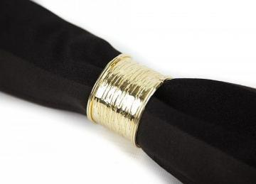 Metal Textured Napkin Rings Gold - 6 Pack