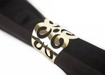 Metal Napkin Rings with Cut Out Gold - 6 Pack