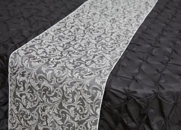 Flock Organza Table Runners - Silver