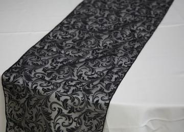 Flock Organza Table Runners - Black