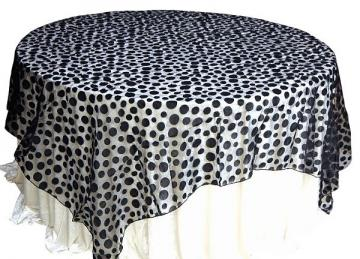 Flock Polka Dot Organza Overlays - Black