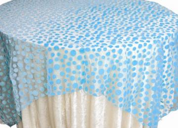Flock Polka Dot Organza Overlays - Blue