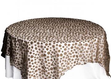 Flock Polka Dot Organza Overlays - Chocolate