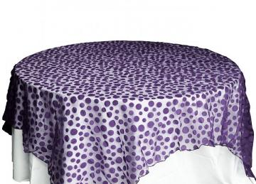 Flock Polka Dot Organza Overlays - Purple