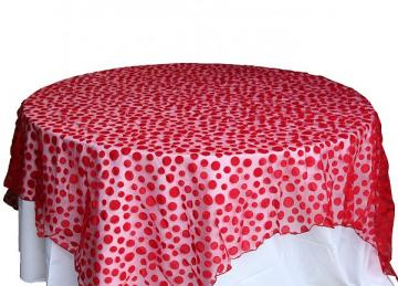 Flock Polka Dot Organza Overlays - Red